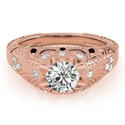 0.97 ctw Certified VS/SI Diamond Antique Ring 18k Rose Gold - REF-169F5M