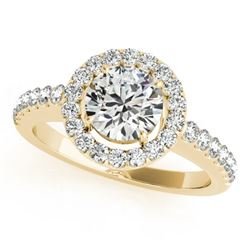 0.76 ctw Certified VS/SI Diamond Halo Ring 18k Yellow Gold - REF-96M5G