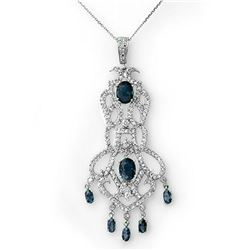 8.15 ctw Blue Sapphire & Diamond Necklace 14k White Gold - REF-260A2N