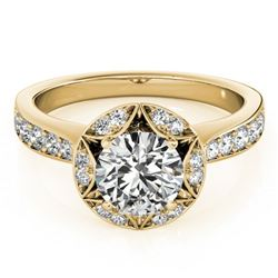1.5 ctw Certified VS/SI Diamond Halo Ring 18k Yellow Gold - REF-320Y5X