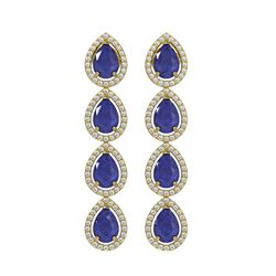 10.2 ctw Sapphire & Diamond Micro Pave Halo Earrings 10k Yellow Gold - REF-155A5N