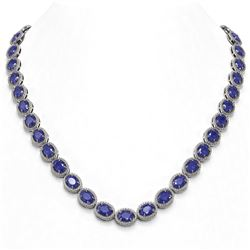 52.15 ctw Sapphire & Diamond Micro Pave Halo Necklace 10k White Gold - REF-763G6W