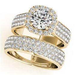 2.59 ctw Certified VS/SI Diamond 2pc Wedding Set Halo 14k Yellow Gold - REF-356A6N