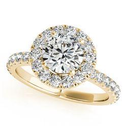 1.75 ctw Certified VS/SI Diamond Halo Ring 18k Yellow Gold - REF-301K6Y