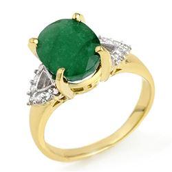 4.24 ctw Emerald & Diamond Ring 10k Yellow Gold - REF-81R8K