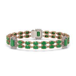 19.49 ctw Emerald & Diamond Bracelet 14K Rose Gold - REF-272G9W