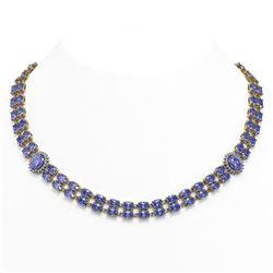 62.77 ctw Tanzanite & Diamond Necklace 14K Yellow Gold - REF-786Y8X
