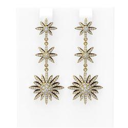 3.7 ctw Diamond Earrings 18K Yellow Gold - REF-288H9R