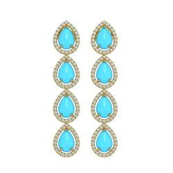 6.20 ctw Turquoise & Diamond Micro Pave Halo Earrings 10k Yellow Gold - REF-158N2F