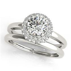 1.43 ctw Certified VS/SI Diamond 2pc Wedding Set Halo 14k White Gold - REF-283K9Y