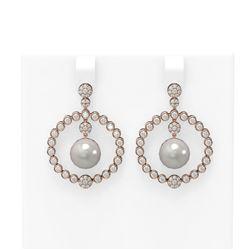 2 ctw Diamond & Pearl Earrings 18K Rose Gold - REF-188F2M