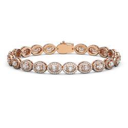 9.49 ctw Oval Cut Diamond Micro Pave Bracelet 18K Rose Gold - REF-798X3A