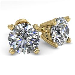 1.53 ctw VS/SI Diamond Stud Designer Earrings 18k Yellow Gold - REF-203M8G