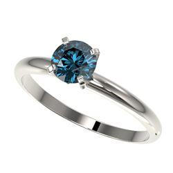 0.75 ctw Certified Intense Blue Diamond Engagment Ring 10k White Gold - REF-67A5N