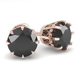 2.0 ctw Black Diamond Stud Solitaire Earrings Vintage 18k Rose Gold - REF-73Y5X