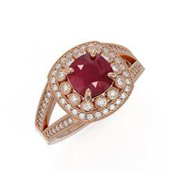 2.69 ctw Certified Ruby & Diamond Victorian Ring 14K Rose Gold - REF-103R3K