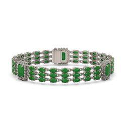 20.53 ctw Jade & Diamond Bracelet 14K White Gold - REF-294W5H