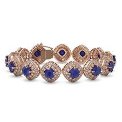 37.35 ctw Sapphire & Diamond Victorian Bracelet 14K Rose Gold - REF-870G9W