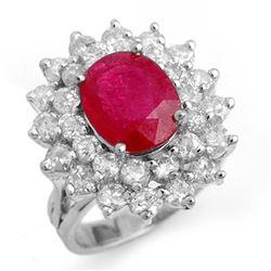 8.0 ctw Ruby & Diamond Ring 18k White Gold - REF-270F9M