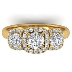 1.55 ctw Certified VS/SI Diamond Solitaire 3 Stone Ring 14k Yellow Gold - REF-182X5A