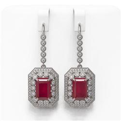 14.16 ctw Certified Ruby & Diamond Victorian Earrings 14K White Gold - REF-318A2N
