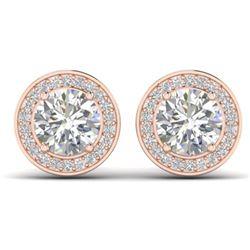 1.85 ctw VS/SI Diamond Art Deco Micro Stud Halo Earrings 14k Rose Gold - REF-327R3K