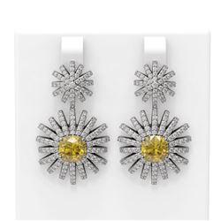 5.61 ctw Canary Citrine & Diamond Earrings 18K White Gold - REF-327F3M