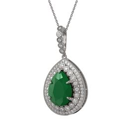 15.87 ctw Emerald & Diamond Victorian Necklace 14K White Gold - REF-690R9K