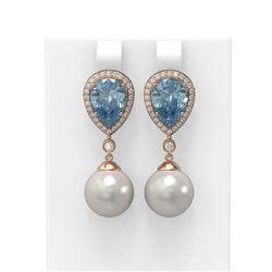 5.83 ctw Blue Topaz & Diamond Earrings 18K Rose Gold - REF-128F2M