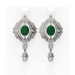 11.24 ctw Emerald & Diamond Earrings 18K White Gold - REF-505Y5X