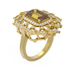 5.39 ctw Canary Citrine & Diamond Ring 18K Yellow Gold - REF-138Y5X