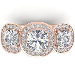 2.7 ctw Cushion VS/SI Diamond Art Deco 3 Stone Ring 14k Rose Gold - REF-518H6R