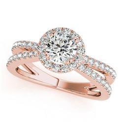 1.55 ctw Certified VS/SI Diamond Halo Ring 18k Rose Gold - REF-302F2M
