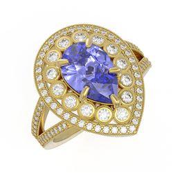4.52 ctw Certified Tanzanite & Diamond Victorian Ring 14K Yellow Gold - REF-245G5W