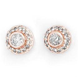 0.90 ctw Certified VS/SI Diamond Stud Earrings 14k Rose Gold - REF-91Y3X