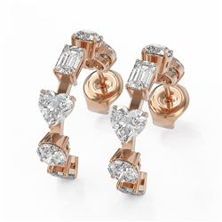4.2 ctw Mix Cut Diamonds Designer Earrings 18K Rose Gold - REF-699H8R