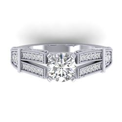 1.5 ctw Certified VS/SI Diamond Solitaire Art Deco Ring 14k White Gold - REF-326N5F