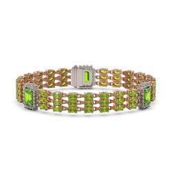 26.14 ctw Peridot & Diamond Bracelet 14K Rose Gold - REF-327K3Y