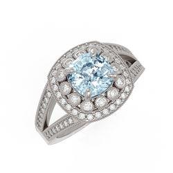 2.39 ctw Certified Aquamarine & Diamond Victorian Ring 14K White Gold - REF-106A5N