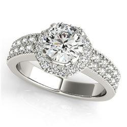 1.4 ctw Certified VS/SI Diamond Halo Ring 18k White Gold - REF-301R3K