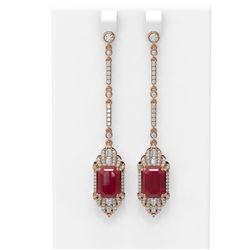 13.65 ctw Ruby & Diamond Earrings 18K Rose Gold - REF-354R5K