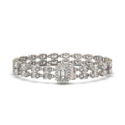 13.04 ctw Emerald Cut & Oval Diamond Bracelet 18K White Gold - REF-1261K9Y