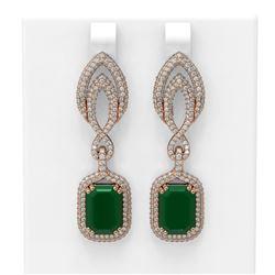 14.72 ctw Emerald & Diamond Earrings 18K Rose Gold - REF-509N3F