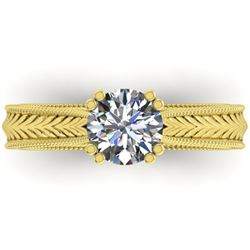 1.06 ctw Solitaire VS/SI Diamond Ring Art Deco 14k Yellow Gold - REF-304A2N