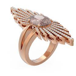 4.72 ctw Morganite & Diamond Ring 18K Rose Gold - REF-360N2F