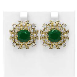 12.23 ctw Emerald & Diamond with Pearl Earrings 18K Yellow Gold - REF-343N6F