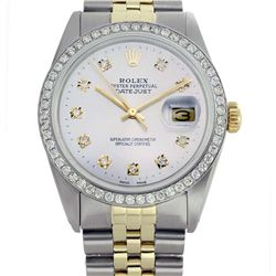 Rolex Ladies Two Tone 14K Gold/SS, Diamond Dial & Diamond Bezel, Sapphire Crystal - REF-434A7N