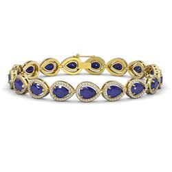 21.69 ctw Sapphire & Diamond Micro Pave Halo Bracelet 10k Yellow Gold - REF-315M5G