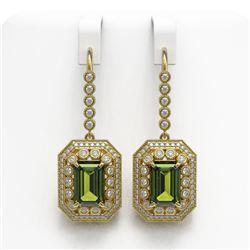 13.4 ctw Tourmaline & Diamond Victorian Earrings 14K Yellow Gold - REF-375K3Y