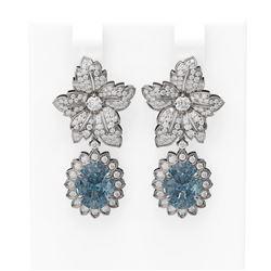 7.59 ctw Blue Topaz & Diamond Earrings 18K White Gold - REF-345A5N